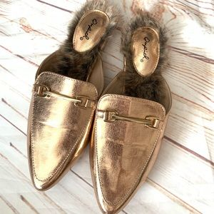 Blogger Fav** Qupid Rose gold fur flats